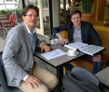 Sven Kallen (left) and Remco van der Wegen at their meeting in Rotterdam
