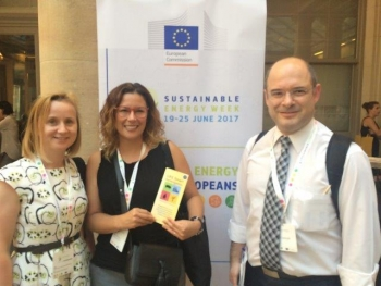 Kathy Franco (Transfer), project adviser Malgorzata Piecha (EASME) and Panos Grammelis (CERTH) at EUSEW17
