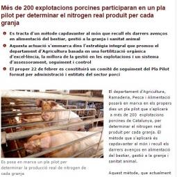 Plan piloto para determinar el nitrógeno real producido por cada granja porcina